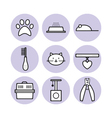 Set for pet store symbols icons vector image vector image