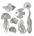 set of marine life fish vector image vector image