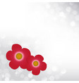 spring silver bokeh background with red flowers vector image