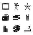 star movie icons set simple style vector image vector image