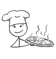 stick man cartoon male cook chef in hat vector image