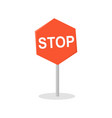 stop road sign in flat design vector image vector image