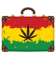 suitcase with rasta flag pattern vector image