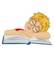 Teenager boy fallen asleep on his book vector image