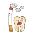 teeth funny character with cigarette kawaii style vector image vector image