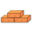 three brick blocks sticker on white background vector image
