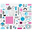 various abstract memphis design element set vector image
