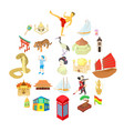 world travel icons set cartoon style vector image