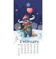 2021 calendar february funny cartoon bull vector image