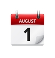 August 1 flat daily calendar icon Date vector image vector image