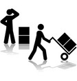 carrying boxes with hand truck vector image vector image