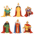 cartoon characters big king in different poses vector image vector image