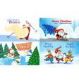christmas banner set cartoon style vector image vector image