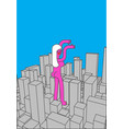 city and big woman abstract skyline and monster vector image