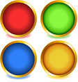 Colorful buttons with gold bevel-set1 vector image vector image