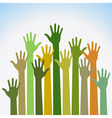 colorful up hands for your design vector image vector image