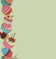 Cupcake border pattern vector image vector image