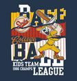 cute cartoon rabbit college baseball league vector image vector image