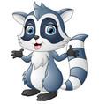 cute raccoon cartoon waving vector image