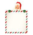 cute santa claus peeking on top letter vector image vector image
