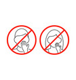do not touch your face icon on white background vector image vector image