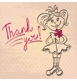 drawing girl with flower says thank you vector image vector image