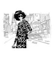 fashion girl on a street background vector image vector image