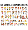 Fifty different type of people vector image