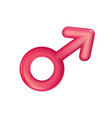 gender male sign red icon plastic realistic men vector image vector image