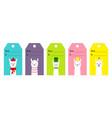 gift tag set alpaca llama cute cartoon funny lama vector image