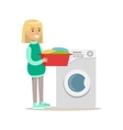 Girl Loading Washing Machine With Clothes Smiling vector image vector image