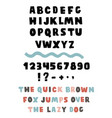 handwritten brushed thick font with symbols vector image