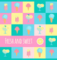 ice cream icons in flat style vector image vector image