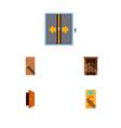 icon flat door set of entry door elevator and vector image vector image