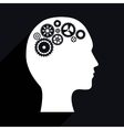 Industrial wheel design on human profile vector image
