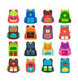 kids cartoon schoolbag set vector image