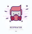 man in respirator thin line icon vector image