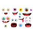 monsters eyes and mouth smiling collection vector image