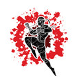 muay thai fighting thai boxing jumping to attack vector image