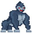pixelated gorilla cartoon pixel design wild vector image