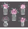 Purple Flowers In Jars vector image vector image