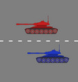 red and blue tanks driving on a road vector image vector image