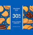 sale background with with cartoon cookies vector image