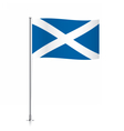 Scotland flag waving on a metallic pole vector image vector image