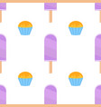 seamless pattern of flat purple popsicles vector image