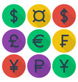 Set of colored flat icons with currency symbols