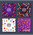 set of colorful abstract cards - memphis design vector image