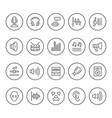 set round line icons sound vector image