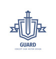 shield and sword - logo template design vector image