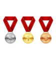 sport medals set reward honor symbol in vector image